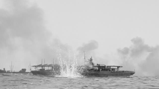 ws la shot of convoy of battleships under attack - warner bros stock videos & royalty-free footage