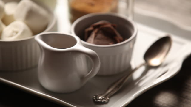 shot of cooking utensil for hot chocolate - cooking utensil stock videos & royalty-free footage