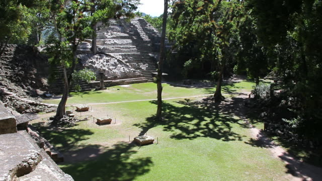 cu pan shot of copan surrounding by trees / copan, honduras - old ruin stock videos and b-roll footage