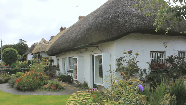 MS Shot of Cottage houses with thatched roofs at Adare Heritage Town / Adare, County Limerick, Ireland