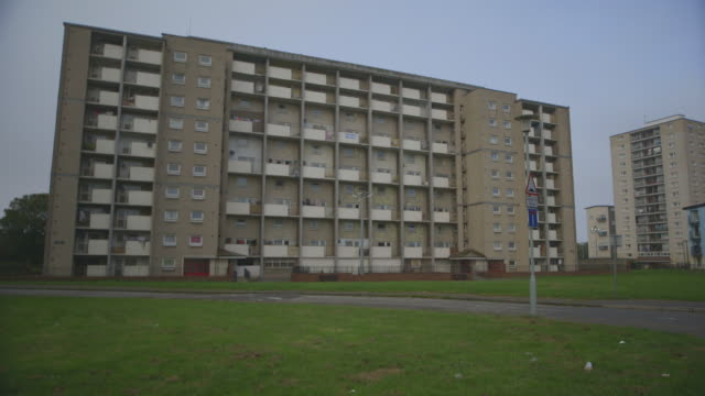 ms pan shot of council estate / edinburgh, edinburgh, united kingdom - bad condition stock videos and b-roll footage