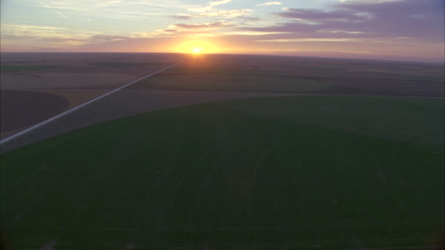 aerial shot of country field and roads / hooker, ok, usa - oklahoma stock-videos und b-roll-filmmaterial