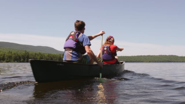 ms tu shot of couple canoeing on long pond with wilderness / maine, united states - maine stock videos & royalty-free footage