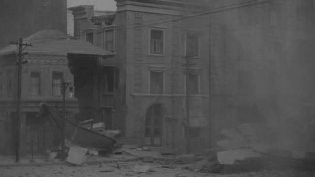 MS Shot of couple of buildings on nondescript block in San Francisco during earthquake Lots of damage (miniature)