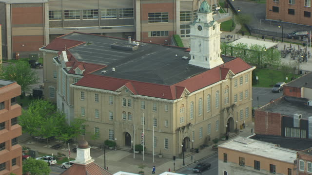 ms aerial shot of courthouse and town / pikeville, kentucky, united states - kentucky stock videos & royalty-free footage