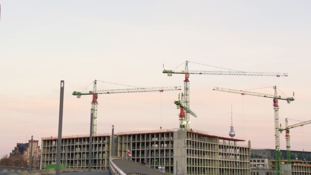 MS T/L Shot of cranes at construction site / Berlin, Germany
