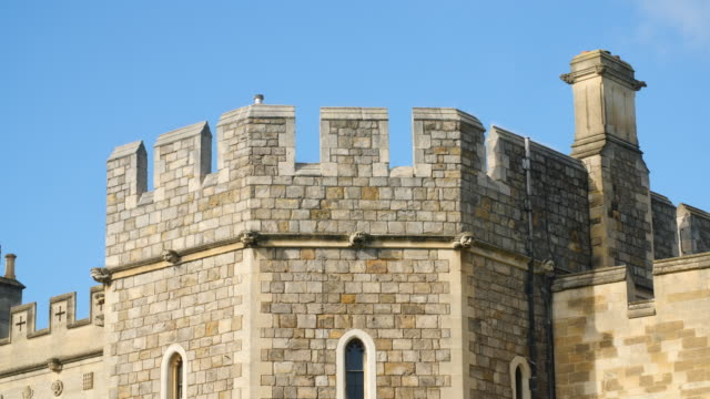 Shot of crenellations decorating the gatehouse of Windsor Castle.