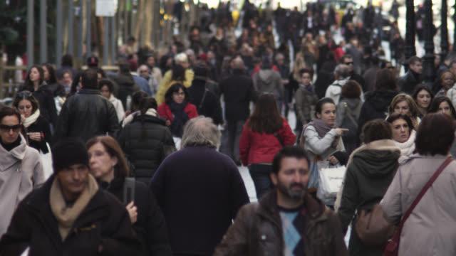MS Shot of crowd / Barcelona, Catalunya, Spain