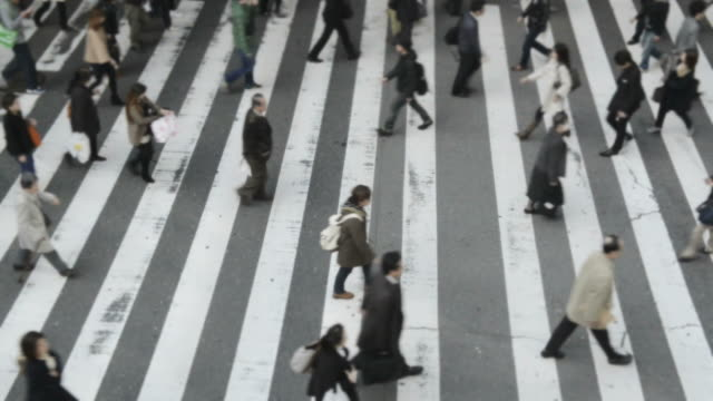 vídeos de stock, filmes e b-roll de ms shot of crowds of people crossing street / osaka, japan - cruzando