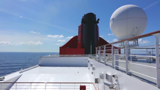 ms shot of cruise ship queen mary 2, cunard line / north sea, jutland, denmark - railings stock videos & royalty-free footage