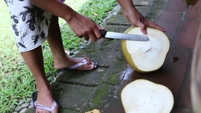 CU Shot of cutting open coconut / Ubud, Bali, Indonesia