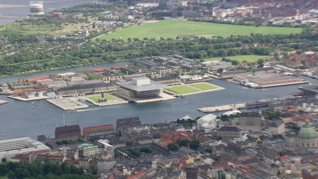 ws aerial zi shot of dag hammarskjolds alle and us embassy with uk one / copenhagen, denmark on left - us embassy stock videos & royalty-free footage