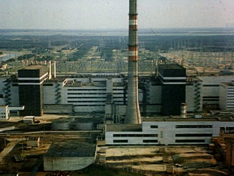 shot of damaged nuclear plant deserted city pripyat audio / pripyat chernobyl ussr ukraine - 1986 stock-videos und b-roll-filmmaterial