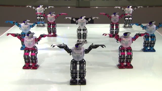 ms shot of dancing robots at exhibition hall in 2012 yeosu world expo / yeosu, jeollanam-do, south korea - moving activity stock videos & royalty-free footage