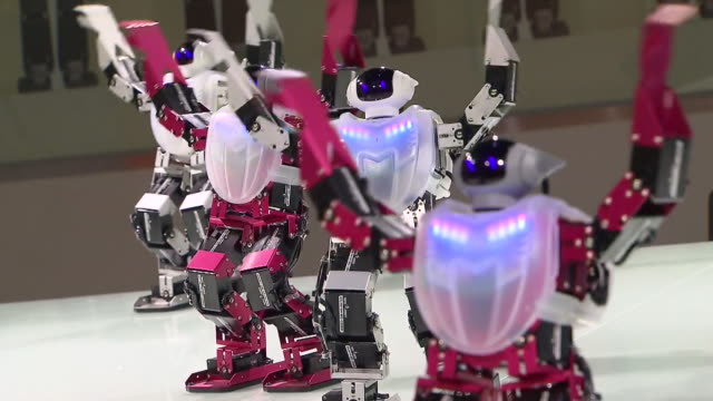 MS Shot of Dancing robots at exhibition hall in 2012 yeosu world expo / Yeosu, Jeollanam-do, South Korea