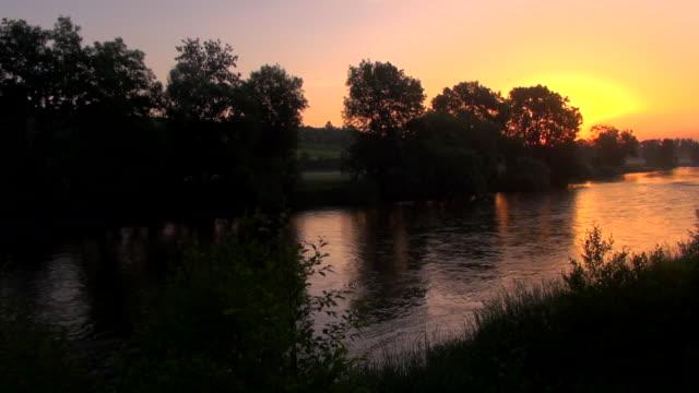 ms tu aerial shot of danube river (donau) at sunrise / ehingen, bavaria, germany - river danube stock videos & royalty-free footage