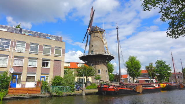 MS LA Shot of De Roode Leeuv windmill / Gouda, South Holland, Netherlands