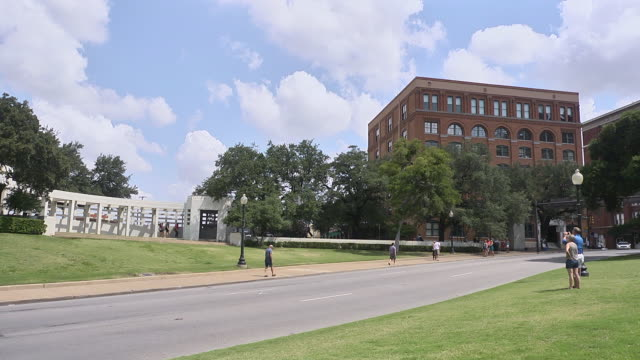 MS Shot of Dealy Plaza with tourists / Dallas, Texas, United States