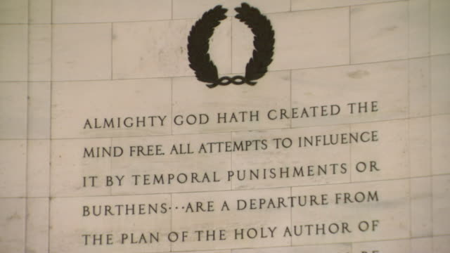 CU TD Shot of Declaration of Independence inscription in interior of Jefferson Memorial / Washington, District of Columbia, United States