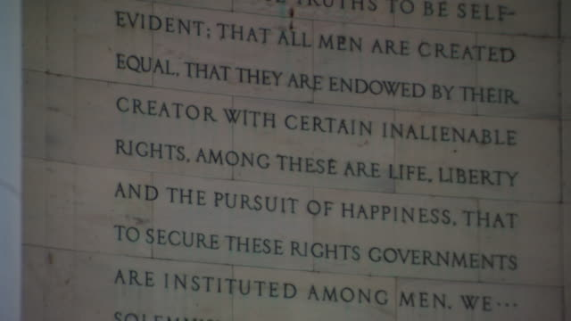CU TD Shot of Declaration of Independence inscription / Washington, District of Columbia, United States