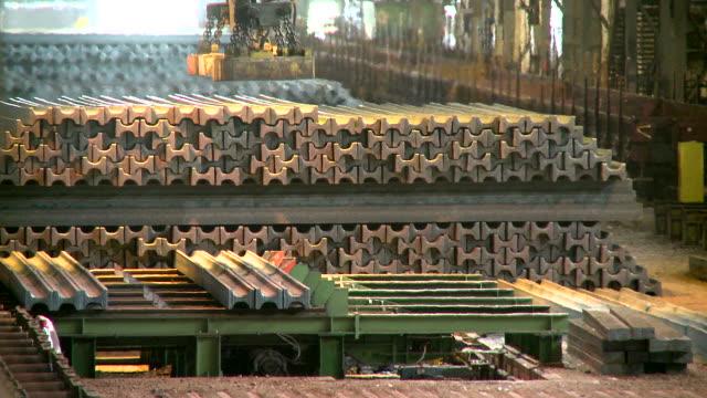 MS Shot of depot for steel girder at steel works / Esch sur Alzette, Esch, Luxembourg