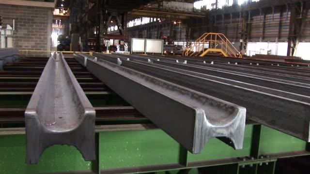 MS ZI Shot of depot for steel girders at steel mill / Esch sur Alzette, Esch, Luxembourg