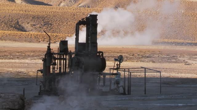 ms shot of derelict geothermal power machinery at el tatio geysers / san pedro de atacama, norte grande, chile - san pedro de atacama stock videos & royalty-free footage