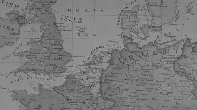 MS Shot of Detail map of Europe and British Isles for air raid