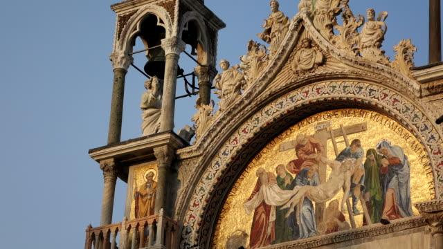 ms la shot of detail of basilica di san marco, piazza san marco / venice, veneto, italy - basilica stock videos and b-roll footage