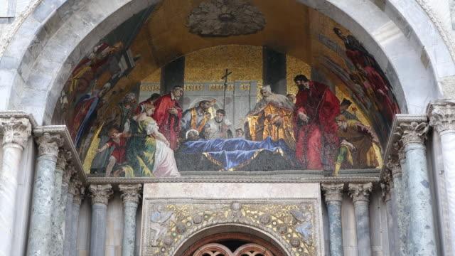 ws la shot of detail of basilica di san marco, piazza san marco / venice, veneto, italy - basilica stock videos and b-roll footage