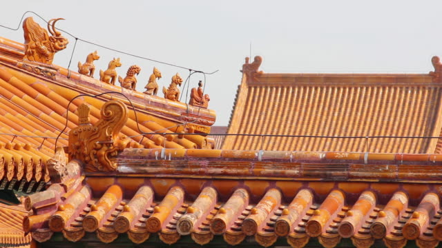 cu shot of detail of building in forbidden city / beijing, china - forbidden city stock videos & royalty-free footage