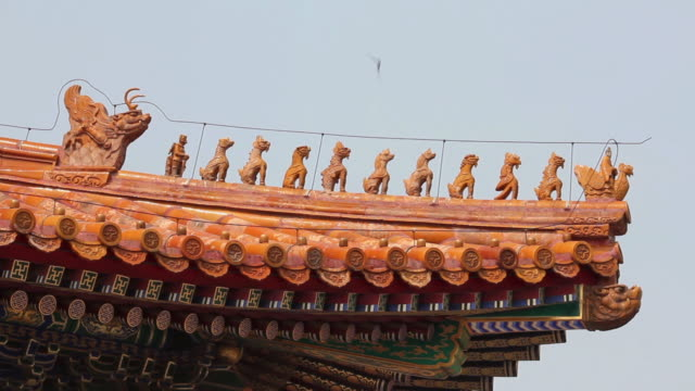 ms shot of detail of building in forbidden city / beijing, china - forbidden city stock videos & royalty-free footage