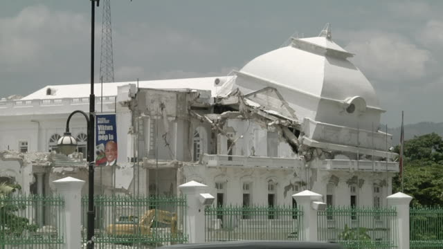 ms shot of detail of collapsing roof of national palace / port-au-prince, haiti - rebuilding stock videos & royalty-free footage