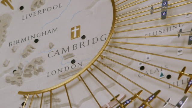 stockvideo's en b-roll-footage met cu shot of detail of great air assault map on wall of cambridge american cemetery and memorial showing the city of cambridge / coton, cambridgeshire, united kingdom - slagfront