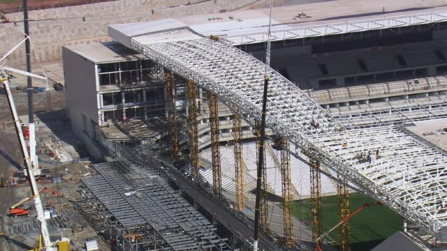 MS AERIAL Shot of Details of Arena corinthians stadium / Sao Paulo, Brazil