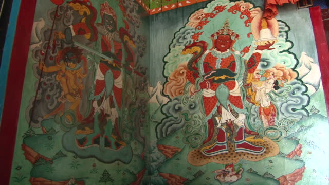 ms zi shot of details of main gompa building at thame monastery / thame, khumbu region, nepal - khumbu stock videos and b-roll footage