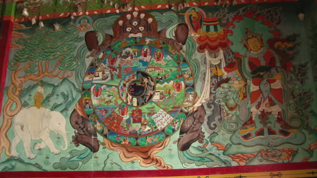 ms zi shot of details of picture at entrance of main gompa building at thame monastery / thame, khumbu region, nepal - khumbu stock videos and b-roll footage