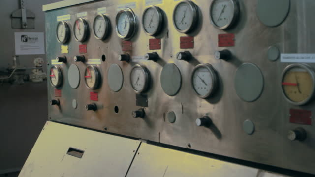 shot of dials and gages in a factory - canning stock videos & royalty-free footage