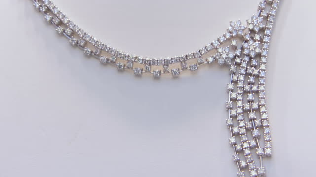 ecu td r/f shot of diamond necklace and rings / philadelphia, pennsylvania, united states - necklace stock videos & royalty-free footage