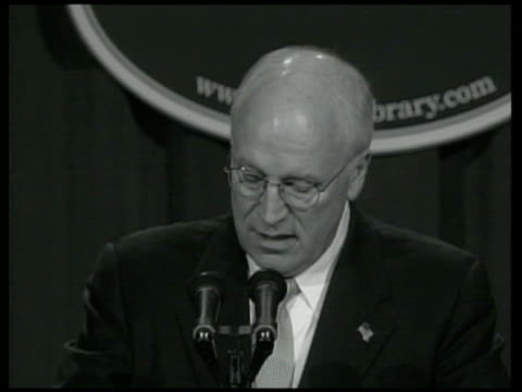 shot of dick cheney speaking at press conference sot - had the decision been left to senator kerry, saddam hussein would still be in power today in... - dick cheney stock videos & royalty-free footage