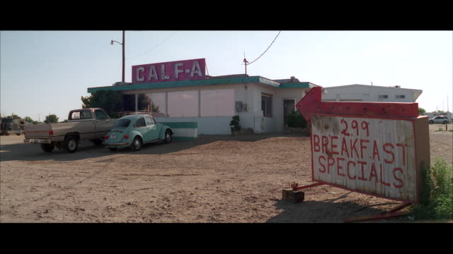 MS Shot of Diner in desert / Unspecified