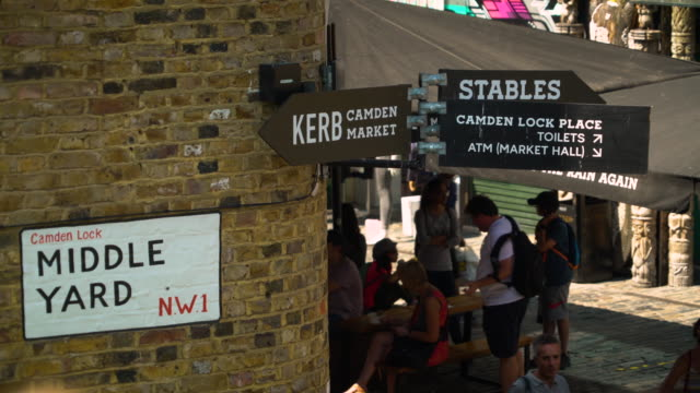 Shot of direction signs in Camden Market as people shelter in the shade on a hot day