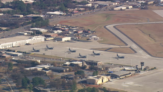 ms aerial shot of dobbins air force base at smyrna city / georgia, united states - military base stock videos & royalty-free footage
