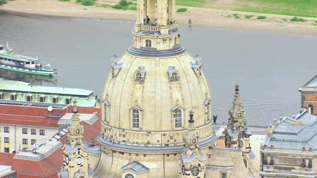 cu aerial ts ds shot of dome of frauenkirche church in city / dresden, saxony, germany - dresden frauenkirche stock videos & royalty-free footage