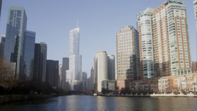 Shot of downtown Chicago featuring the Trump building.