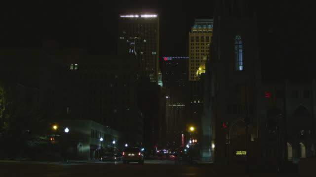 ws shot of downtown city at night / tulsa, oklahoma, united states - oklahoma stock videos & royalty-free footage