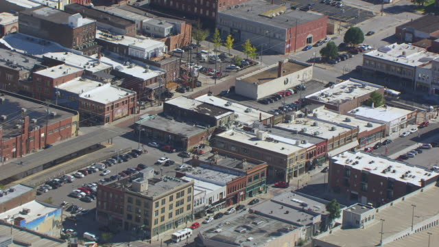 ms aerial shot of downtown low rise buildings / springfield, missouri, united states - missouri stock videos & royalty-free footage