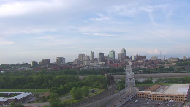 WS AERIAL Shot of downtown with Broadway Bridge during morning / Kansas City, Missouri, United States
