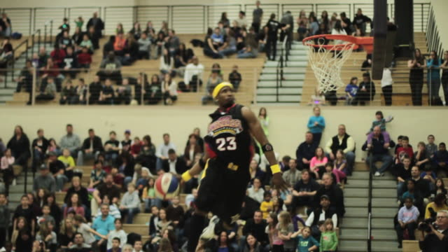cu slo mo shot of dr. jay style dunk / monroe, new york, united states  - basketball stock videos and b-roll footage