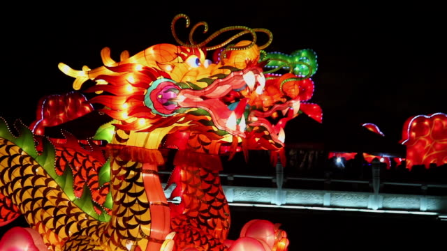 CU Shot of Dragon Lantern for celebrating Spring Festival / Xian, China